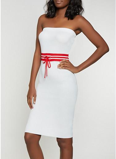 Striped Waist Tube Dress,WHITE,large