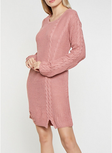 Distressed Cable Knit Sweater Dress,MAUVE,large