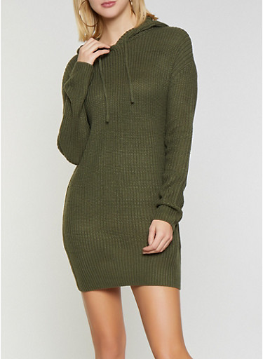 Hooded Sweater Dress,OLIVE,large
