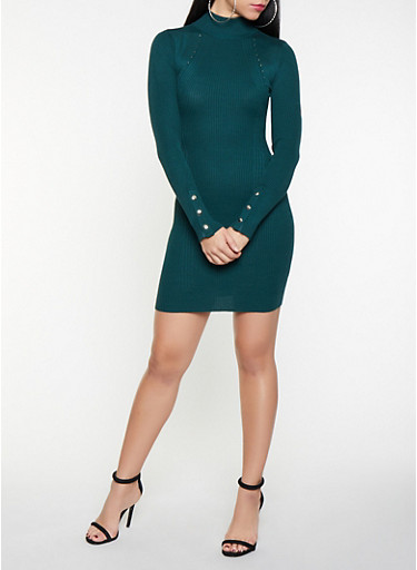 Snap Sleeve Mini Sweater Dress,GREEN,large
