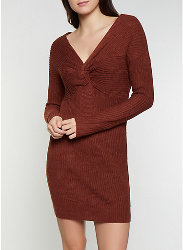 Twist Back Sweater Dress,BROWN,large