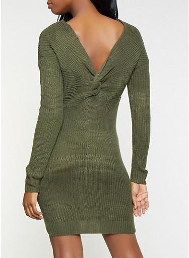 Twist Back Sweater Dress,OLIVE,large