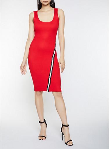 Sleeveless Midi Sweater Dress,RED,large