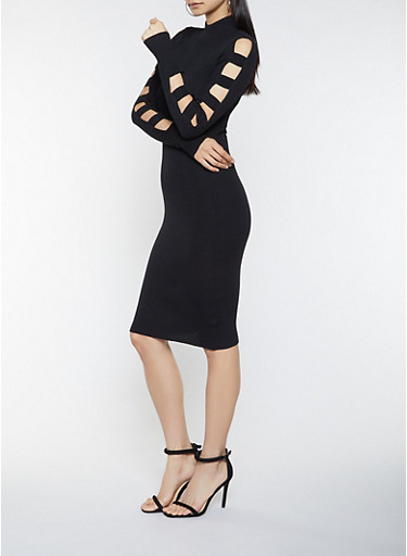Caged Sleeve Sweater Dress,BLACK,large