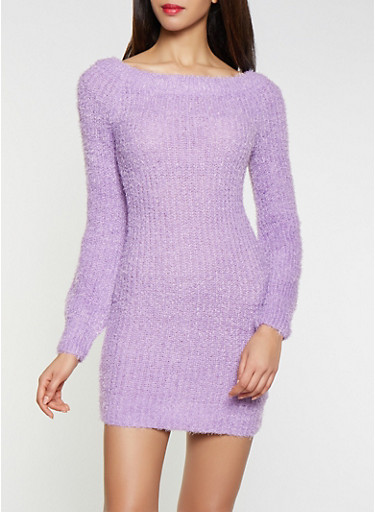 Feathered Knit Off the Shoulder Sweater Dress,LAVENDER,large