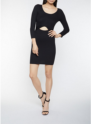 Cut Out Rib Knit Sweater Dress,BLACK,large