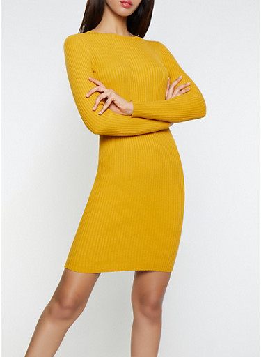 Rib Knit Sweater Dress,MUSTARD,large