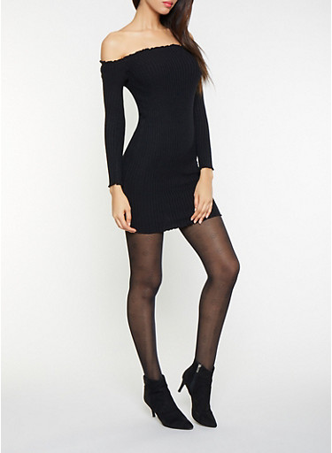 Off the Shoulder Sweater Dress,BLACK,large