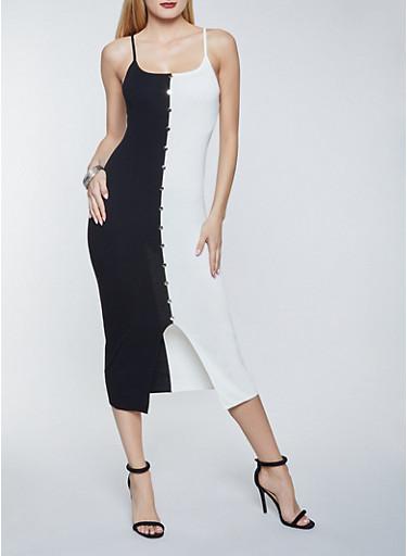 Two Tone Metallic Button Sweater Dress,BLACK/WHITE,large