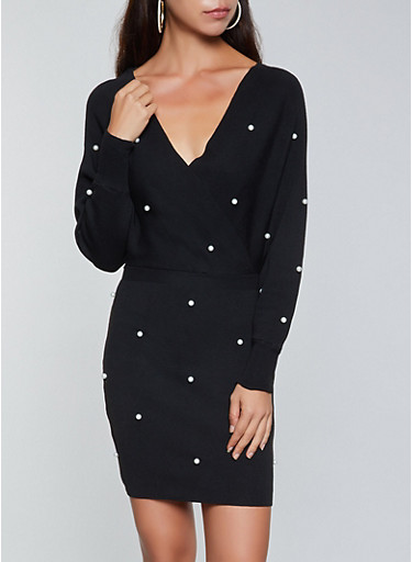 Faux Pearl Studded Sweater Dress,BLACK,large
