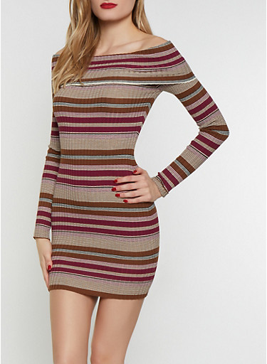 Striped Off the Shoulder Sweater Dress,RUST,large