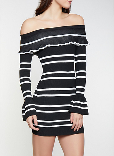 Striped Off The Shoulder Sweater Dress Rainbow