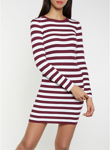 Striped Ribbed Knit Sweater Dress,WINE,large