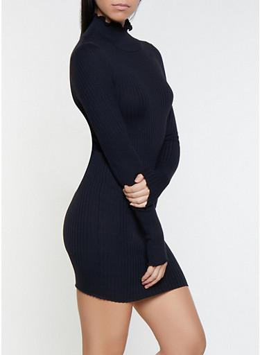Lettuce Edge Mock Neck Sweater Dress,BLACK,large