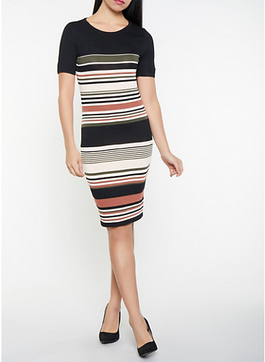 Striped Sweater Dress,BLACK,large