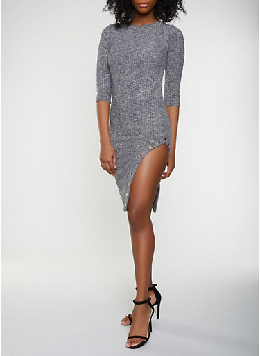 Marled Knit Button Detail Bodycon Dress,HEATHER,large