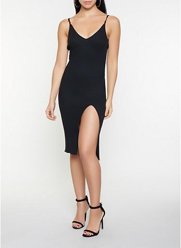 Sleeveless Side Slit Sweater Dress,BLACK,large