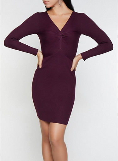 Twist Front Rib Knit Sweater Dress,PURPLE,large