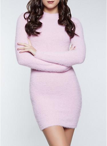 Eyelash Knit Mock Neck Dress,PINK,large