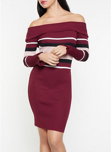 Color Block Off the Shoulder Sweater Dress,WINE,large