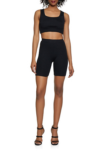 Rib Knit Cropped Tank Top with Bike Shorts,BLACK,large
