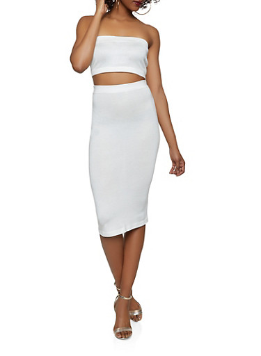 Knit Tube Top and Pencil Skirt Set,IVORY,large