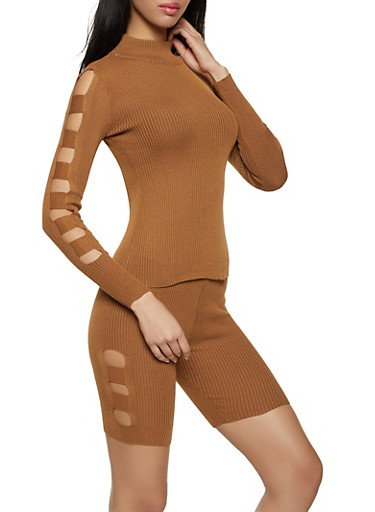 Caged Side Sweater and Bike Shorts Set,BROWN,large