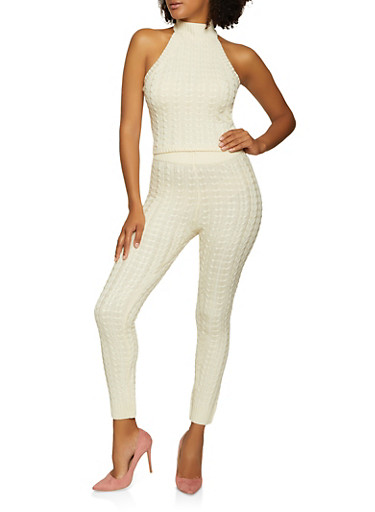 Cable Knit Halter Top and Leggings Set,IVORY,large
