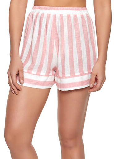 Striped Linen Pull On Shorts,CORAL,large