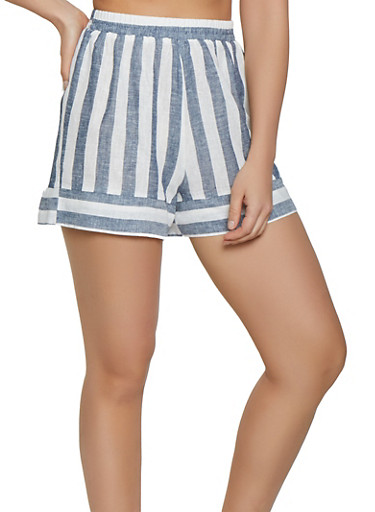 Striped Linen Pull On Shorts,BLUE,large
