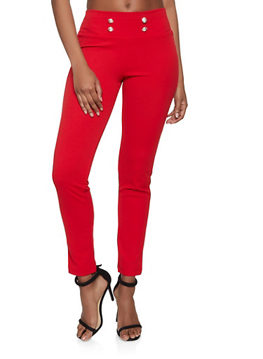 Crepe Knit Sailor Pants,RED,large