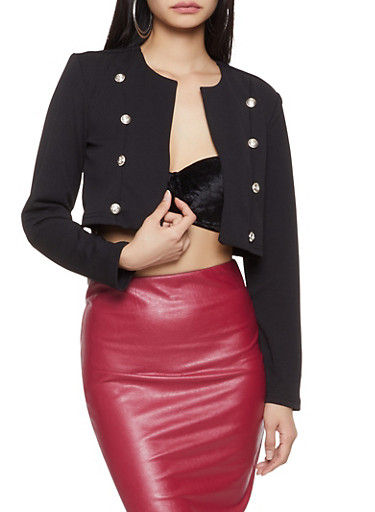 Double Breasted Cropped Blazer,BLACK,large