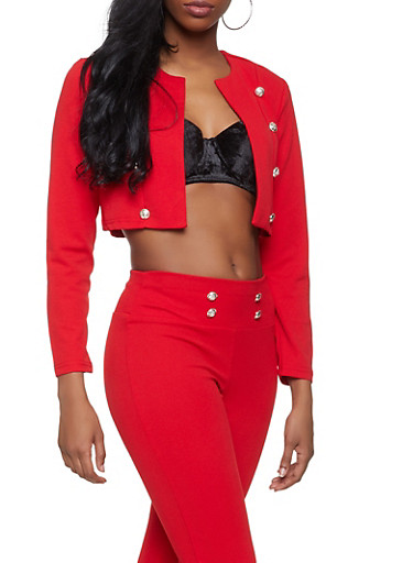 Double Breasted Cropped Blazer,RED,large
