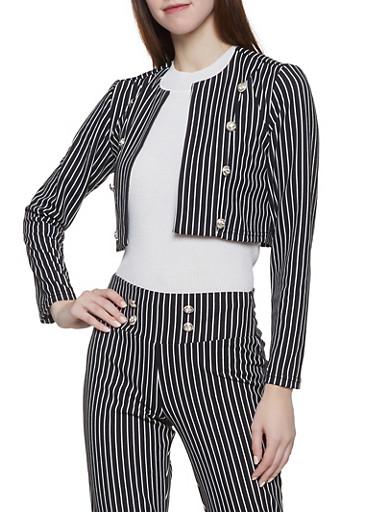 Button Detail Striped Blazer,BLACK/WHITE,large