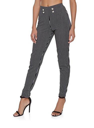Button Detail Striped Pants,BLACK/WHITE,large
