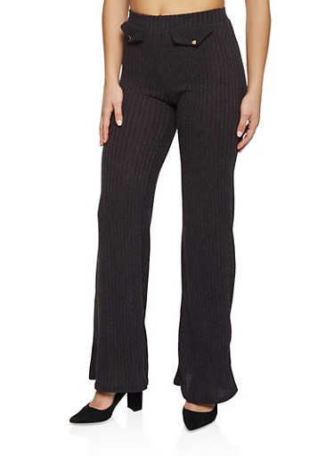 Rib Knit Palazzo Pants,CHARCOAL,large