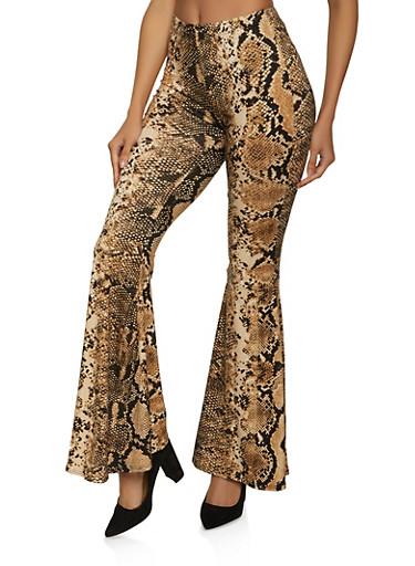 Snake Print Soft Knit Flared Pants,BROWN,large