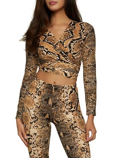 Snake Print Cropped Wrap Top,BROWN,large