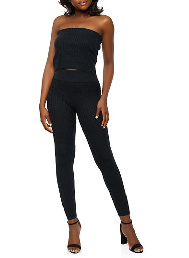 Cable Knit Tube Top and Leggings Set,BLACK,large