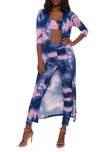 Tie Dye Duster with Bandeau Top and Leggings,PINK,large