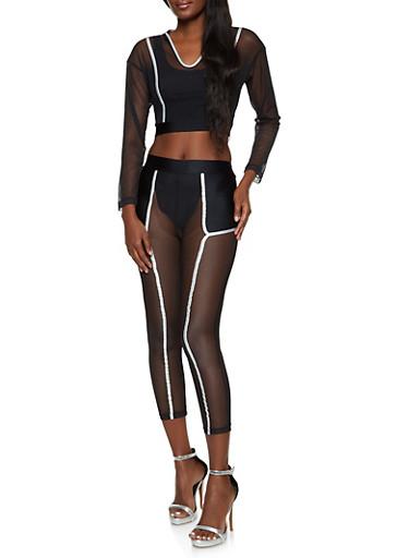 Contrast Trim Mesh Crop Top and Leggings,BLACK,large