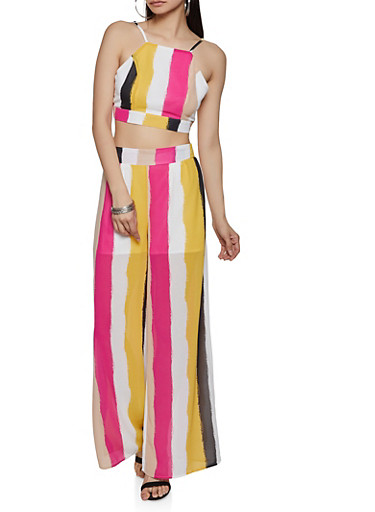 Multi Color Stripe Crop Top and Palazzo Pants,PINK,large