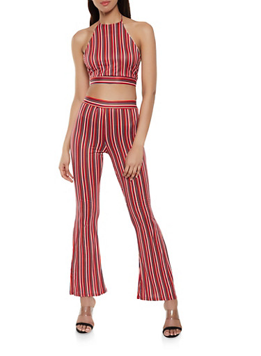 Striped Halter Top and Flared Pants Set,RED,large