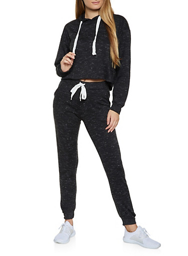 Marled Drawstring Waist Jogger Set,CHARCOAL,large