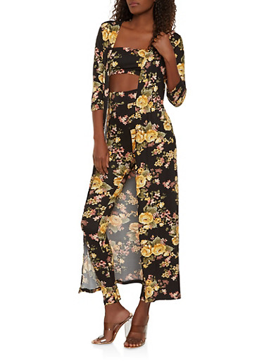 Printed Duster with Bandeau and Leggings,BLACK,large
