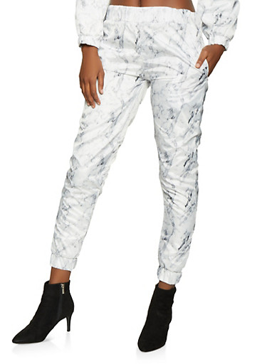 Marble Print Windbreaker Joggers,WHITE,large