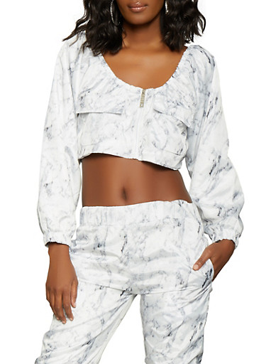 Marble Print Cropped Windbreaker Jacket,WHITE,large