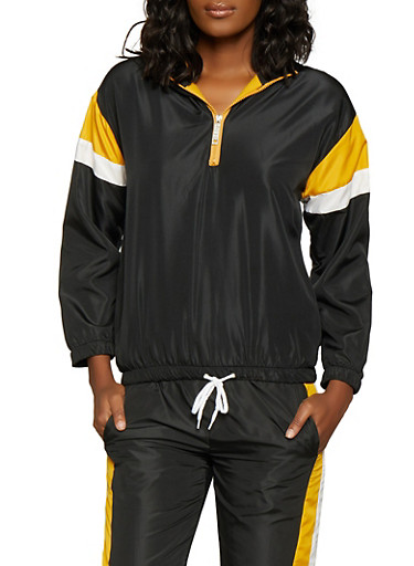 Hooded Color Block Windbreaker Jacket,BLACK,large