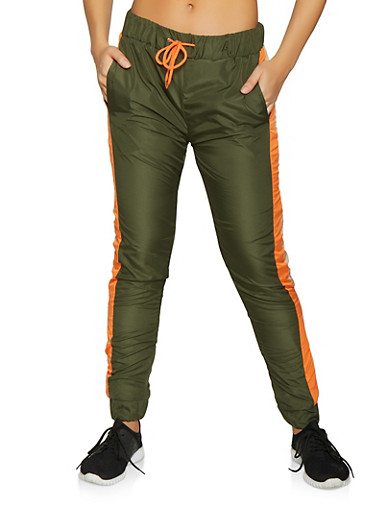 Color Block Windbreaker Joggers,OLIVE,large