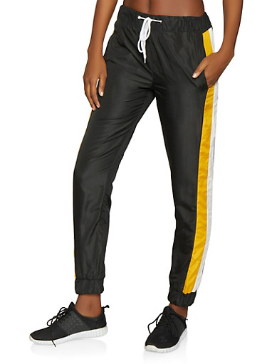 Color Block Windbreaker Joggers,BLACK,large